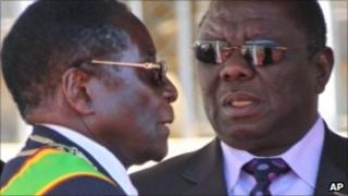 Robert Mugabe (left) and Morgan Tsvangirai (right)