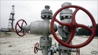 Gas derrick at Solokhiv gas field near the Ukrainian city Poltava
