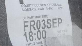 One of the fake tickets - PIC: Durham County Council