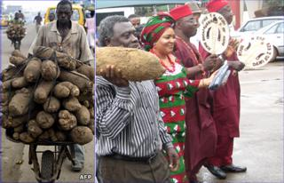 Nigerian yam trader (left - AFP), Yam festival (right - BBC)