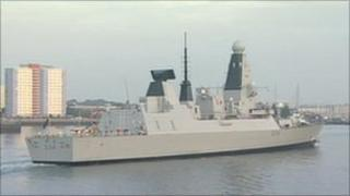 HMS Diamond sailing into Portsmouth