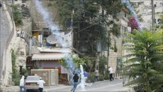 Israeli police fire tear gas in the East Jerusalem area of Silwan