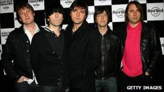 The Charlatans, with Jon Brookes far right