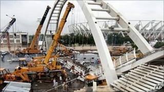 Collapsed bridge at Commonwealth Games