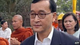 Cambodian opposition party leader Sam Rainsy