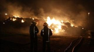 Firefighters at haystack fire in Bedfordshire