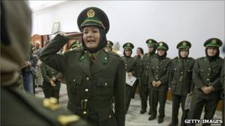 Afghan female officers at their graduation ceremony