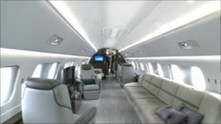 Inside an Embraer business jet in Moscow