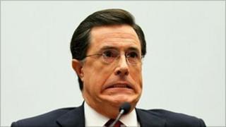 Stephen Colbert giving evidence