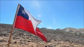 San Jose mine with Chilean flag