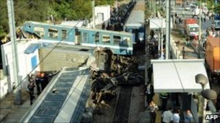 Train wreckage at Bir El Bay, Tunisia - 24 September 2010