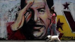 Wall painting of Hugo Chavez in Caracas