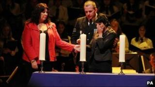 Kate carroll and Daisy godfrey at the memorial service