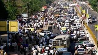 Traffic chaos in Delhi. File photo