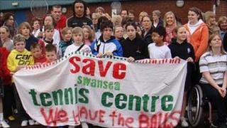 Campaigners protest at planned closure of Swansea Tennis Centre
