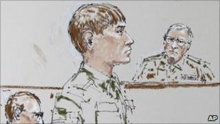 Court sketch of Cpl Morlock (centre), investigating officer Col Thomas Molloy (right) and lawyer Michael Waddington (left) - 27 September 2010