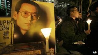 File picture of candle vigil for Liu Xiaobo held in Hong Kong in January this year