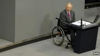 Finance Minister Wolfgang Schaeuble in the German parliament in Berlin, 14 September
