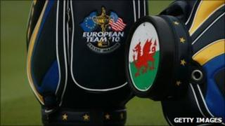 The Welsh dragon, on a European team golf bag at the Celtic Manor course