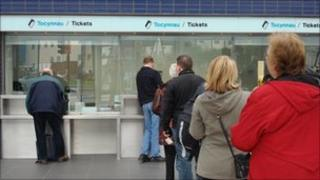 queue at Newport rail station