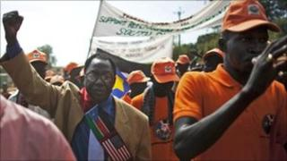 Southern Sudanese pro-independence activists march through the southern capital of Juba on 9 September 2010.