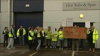 Protesters outside the Trade Price Group offices in Rugeley
