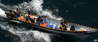 Suspected pirates in the Gulf of Aden, off the coast of Somalia (file photo)