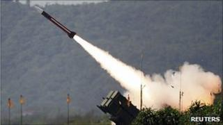 A US-made Patriot missile launches in Taiwan