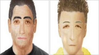 E-fit image of the suspected driver (left) and the suspected attacker (right)