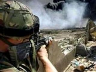 An Irish Guard on the outskirts of Basra