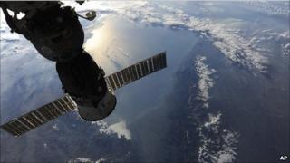 View out of the International Space Station, over the Caspian Sea