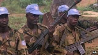Nigerian UN peacekeeping soldiers in Sierra Leone in 2000