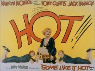 A lobby card is shown for Billy Wilders Some Like It Hot, 1959, starring Marilyn Monroe, Tony Curtis, and Jack Lemmon