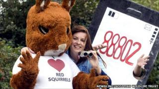 Hollie Walker, Saving Scotland's Red Squirrel's Project Officer for the North East, launches the campaign [Pic: Newsline/SWT]
