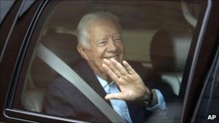 Jimmy Carter inside a car