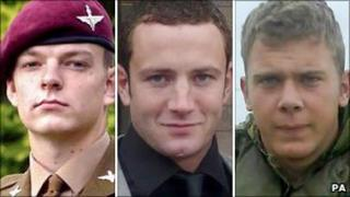 From left: Pte Kyle Adams, Cpl Kevin Mulligan, and L/Cpl Dale Hopkins