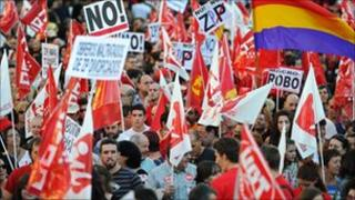Spanish workers protest over austerity measures in Madrid
