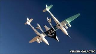 In-flight image of Eve and SS2 (Virgin Galactic)