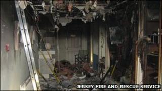 Fire at Discovery Bay apartments. Pic: Jersey Fire and Rescue Service