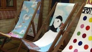 Painted deckchairs