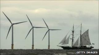 Windfarm and sea