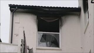 Fire-damaged window