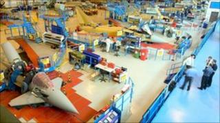 Typhoon jets being built at a BAE Systems factory
