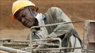 Construction worker in Kenya