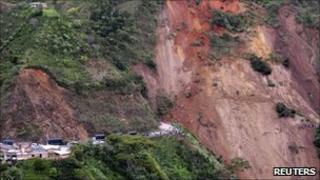 View of collapsed mountainside near Giraldo