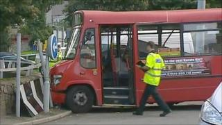 Scene of the bus crash in Caernarfon