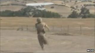 Soldier launching Desert Hawk - generic image