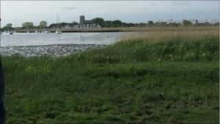 Stanpit Marsh with Christchurch Priory in the background