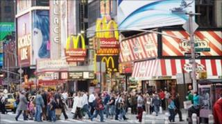 Shops and restaurants on Time Square, New York