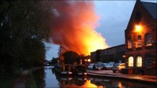 Fire scene in Warwick